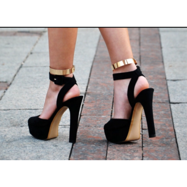 Black and Gold Ankle Strap Sandals Platform Chunky Heels image 2