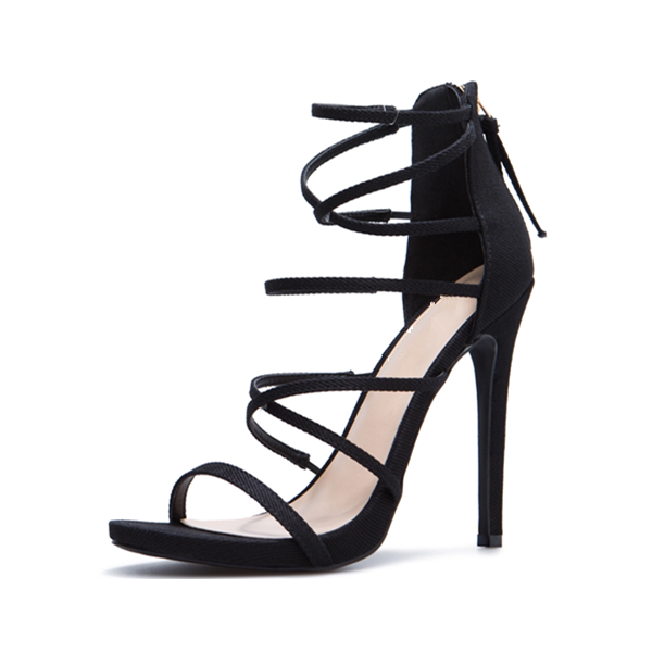 Black Strappy Sandals Suede Stiletto Heels for Women image 1