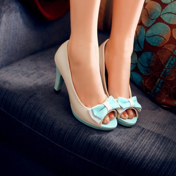 Ivory and Aqua Shoes Peep Toe Chunky Heel Pumps Cute Bow Heels image 3
