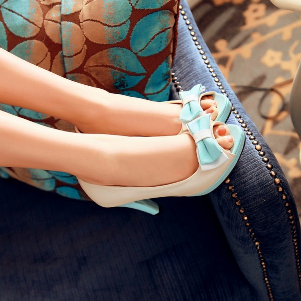 Ivory and Aqua Shoes Peep Toe Chunky Heel Pumps Cute Bow Heels image 2