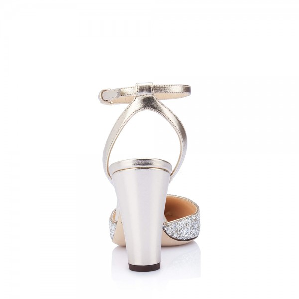 Silver Glitter Ankle Strap Heels Chunky Heel Sandals image 3