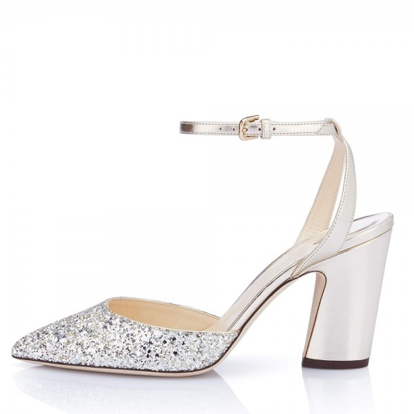 Silver Glitter Ankle Strap Heels Chunky Heel Sandals image 2