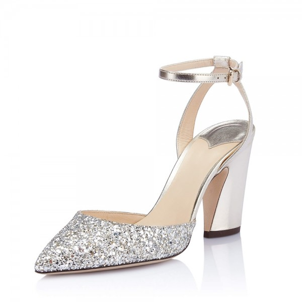 Silver Glitter Ankle Strap Heels Chunky Heel Sandals image 1