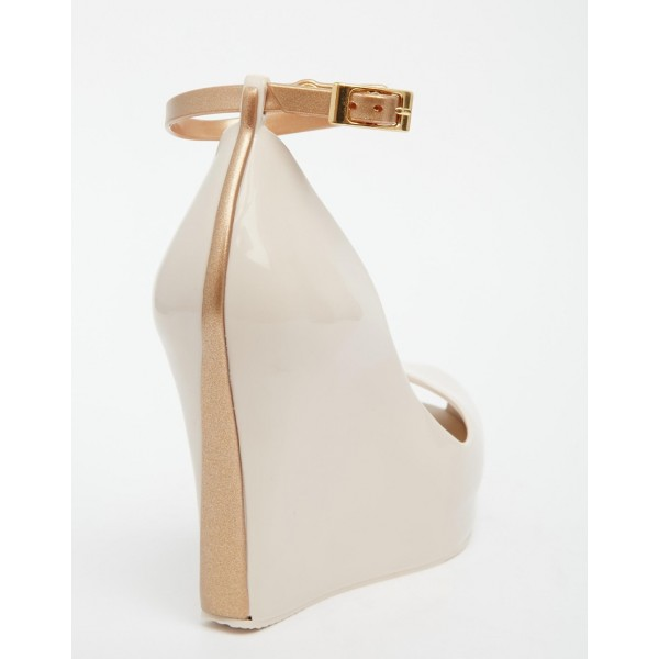 Nude Ankle Strap Heels Peep Toe Wedge Heels for Women image 4