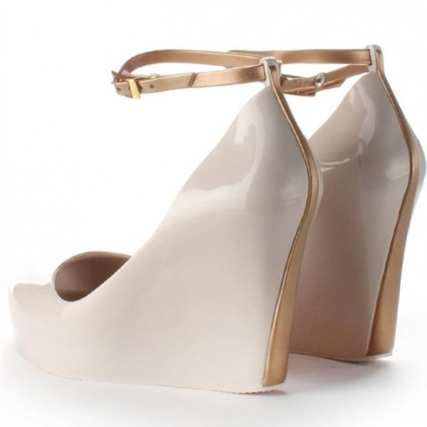 Nude Ankle Strap Heels Peep Toe Wedge Heels for Women image 2