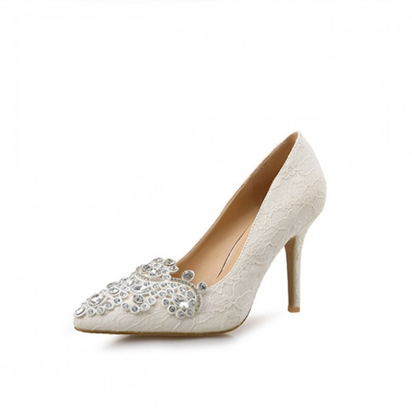 Ivory Bridal Shoes Lace Heels Pointy Toe Rhinestone Pumps for Wedding image 5