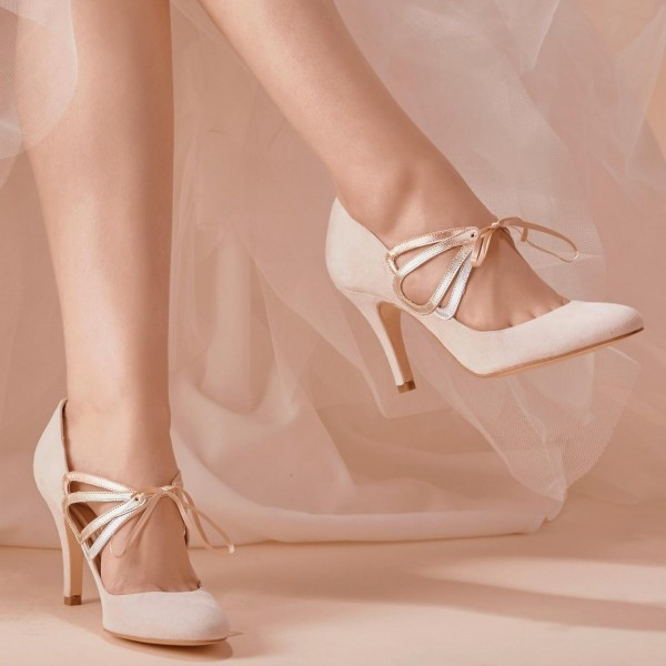 Ivory Bridal Heels Lace up Suede Stiletto Heel Pumps for Wedding image 3