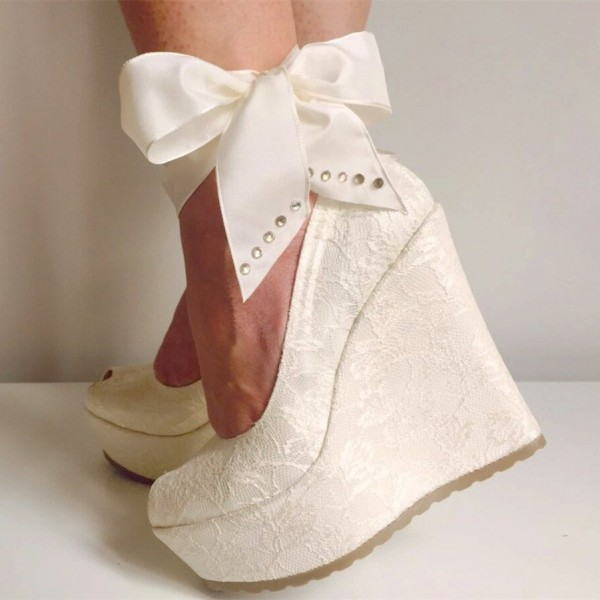 Ivory Bridal Heels Lace Wedge Heel Sandals with Platform image 1