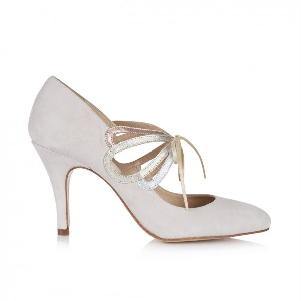 Ivory Bridal Heels Lace up Suede Stiletto Heel Pumps for Wedding image 2