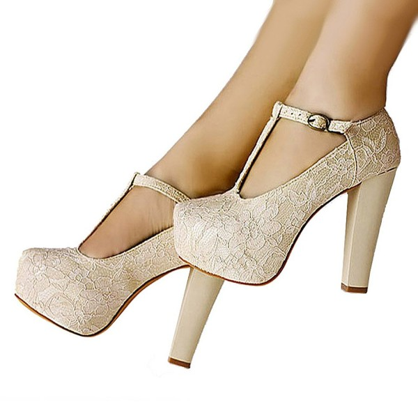 Ivory Lace Heels T Strap Wedding Shoes Chunky Heel Pumps Image 5
