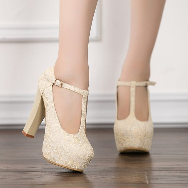 Ivory Lace Heels T Strap Wedding Shoes Chunky Heel Pumps image 2