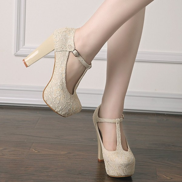 Ivory Lace Heels T Strap Wedding Shoes Chunky Heel Pumps image 4