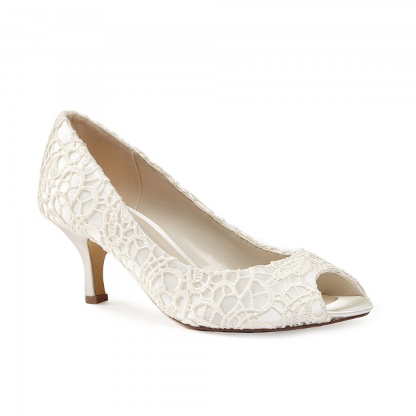 Lace Ivory Wedding Shoes Peep Toe Kitten Heels Bridal Shoes image 3