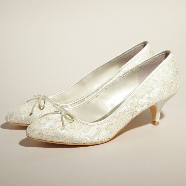 Ivory Bridal Shoes Lace Heels Pumps Kitten Heels for Wedding image 1