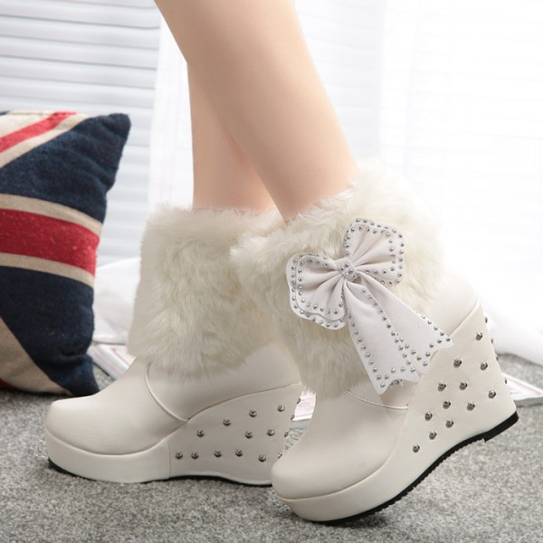 bdc5a702567 White Fur Boots Platform Bow Wedges Winter Boots with Silver Studs image 1  ...