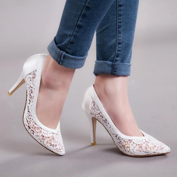 White Bridal Shoes Lace Heels Wedding Pumps image 4