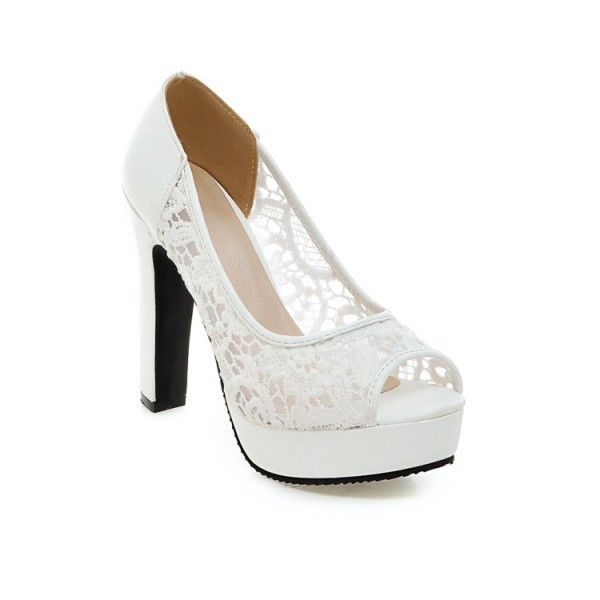 White Lace Heels Peep Toe Platform Chunky Heel Pumps for Wedding image 2