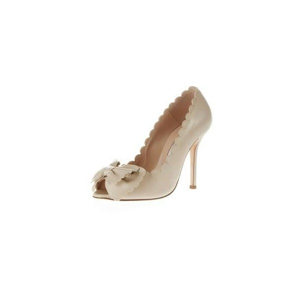 Ivory Heels Peep Toe Stiletto Heel Bow Pumps image 2