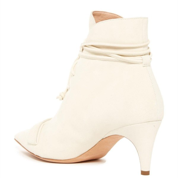 White Fashion Boots Kitten Heel Pointy Toe Strappy Ankle Booties image 8