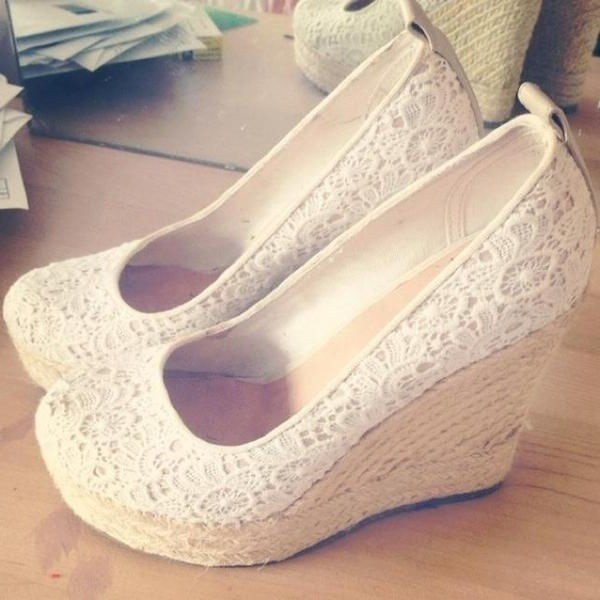 Ivory Lace Espadrille Wedges Wedding Shoes Round Toe Platform Pumps image 1