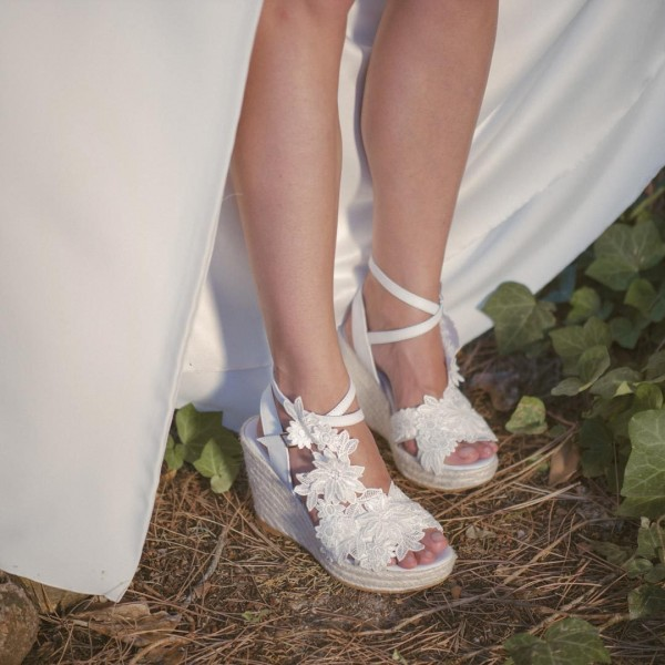 Ivory Lace Floral Wedding Wedges Peep Toe Bridal Platform Sandals image 3