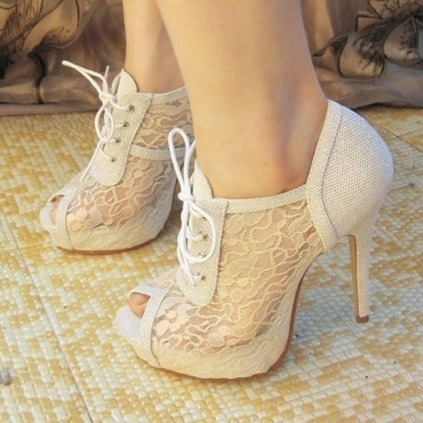 White Lace Peep Toe Summer Boots Stiletto Heels Lace up Wedding Shoes image 1