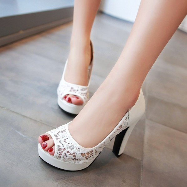 White Lace Heels Peep Toe Platform Chunky Heel Pumps for Wedding image 4