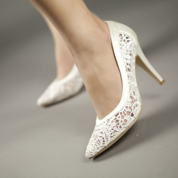 White Bridal Shoes Lace Heels Wedding Pumps image 2