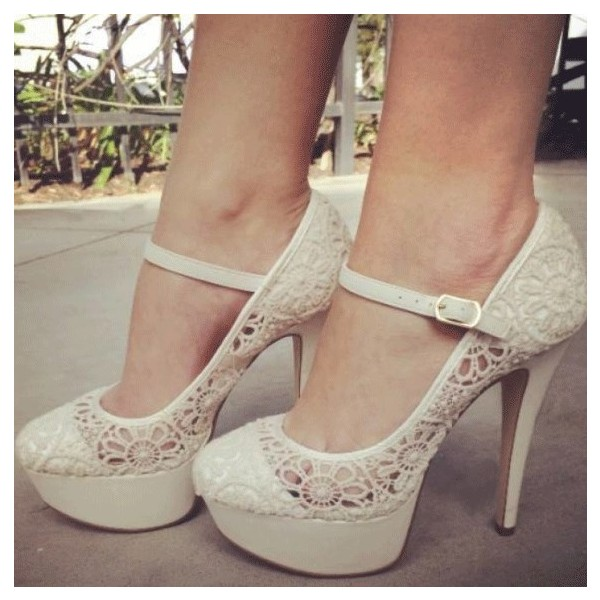 Ivory Lace Platform  Mary Jane Pumps Wedding Shoes  image 1