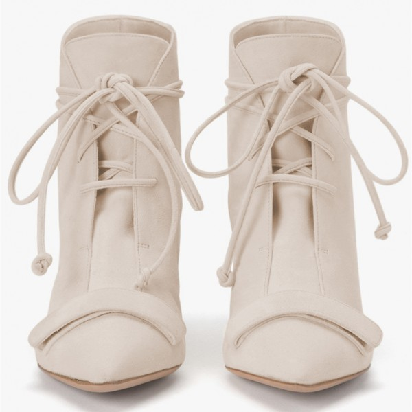 Beige Fashion Boots Kitten Heel Pointy Toe Strappy Ankle Booties image 3