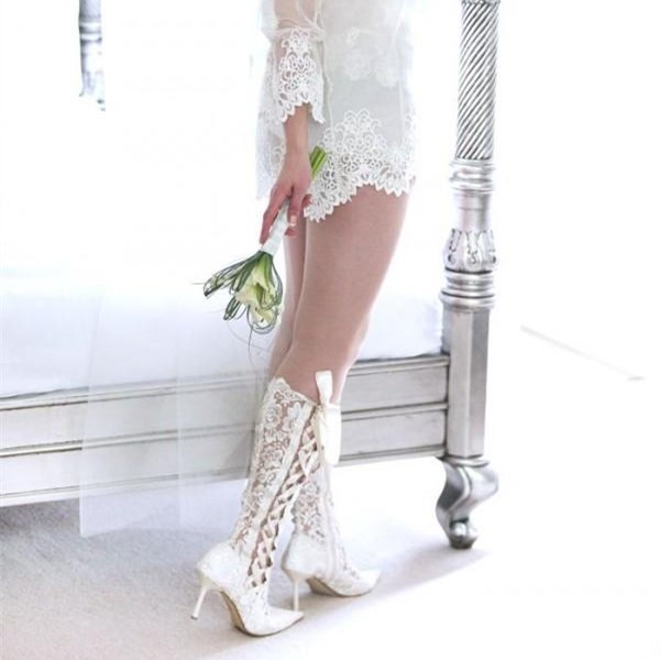 White Lace Bridal Shoes Pointy Toe Side Lace up Knee Boots for Wedding image 3
