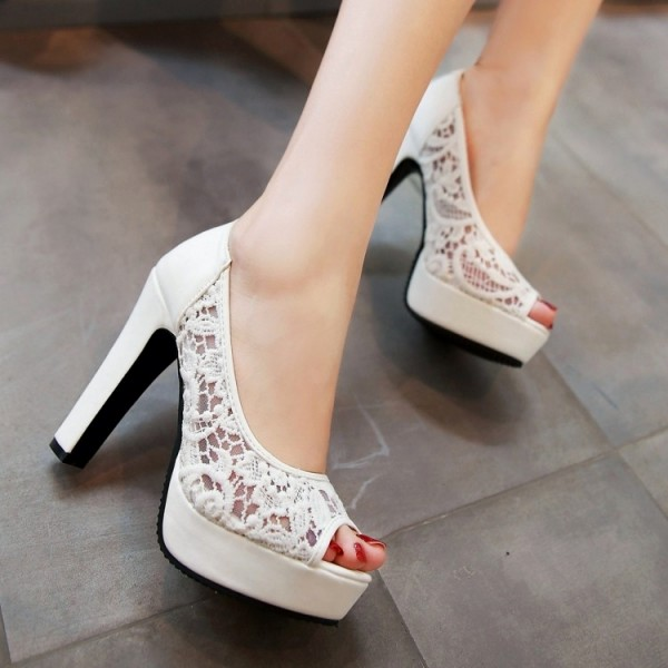 White Lace Heels Peep Toe Platform Chunky Heel Pumps for Wedding image 5