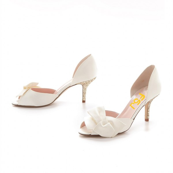 Ivory Satin Low Heel Wedding Shoes Peep Toe Glitter Bow Pumps image 4