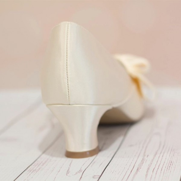 Ivory Wedding Shoes Satin Pointy Toe Spool Heel Vintage Shoes by FSJ image 3