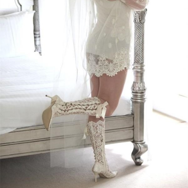 White Lace Bridal Shoes Pointy Toe Side Lace Up Knee Boots