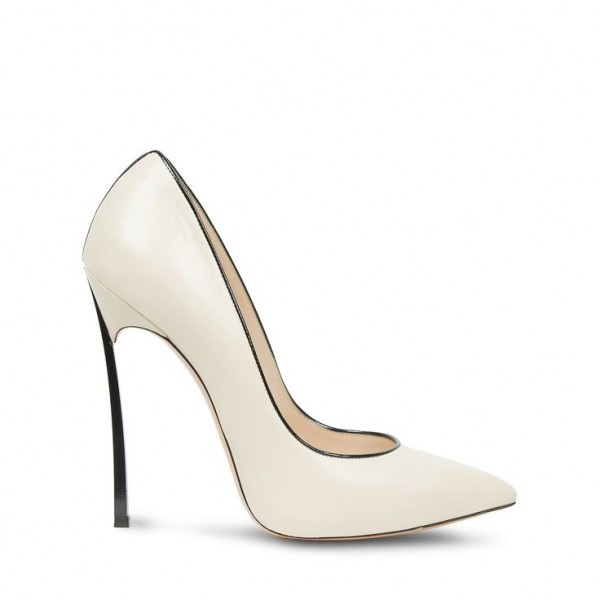 White  Stiletto Heels  Pointy Toe Commuting Pumps For Women image 2