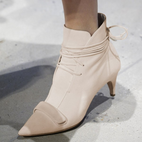 Beige Fashion Boots Kitten Heel Pointy Toe Strappy Ankle Booties image 1
