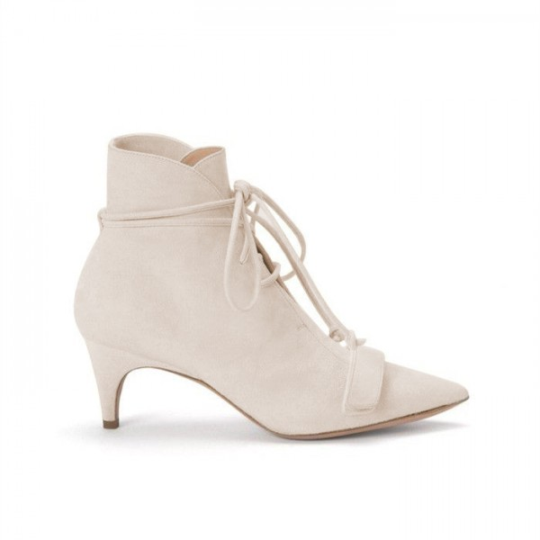 Beige Fashion Boots Kitten Heel Pointy Toe Strappy Ankle Booties image 2