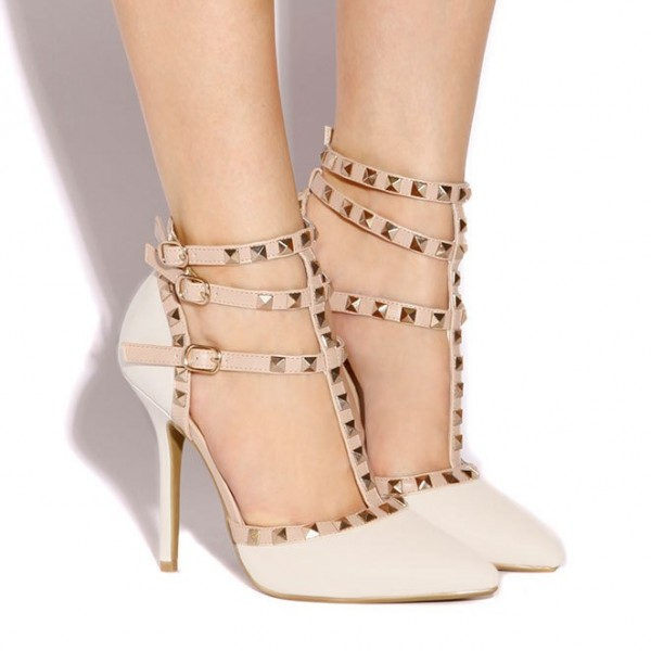 Ivory T Strap Sandals Studded Closed Toe Stiletto Heels image 2