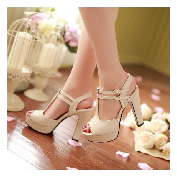 Ivory T Strap Sandals Peep Toe Buckle Chunky Heels Platform Sandals image 1
