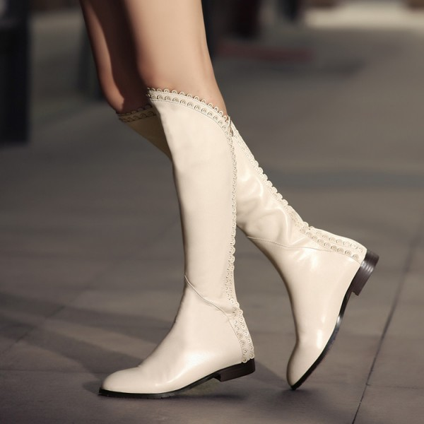 Ivory Vegan Leather Knee Boots Round Toe Flats Comfortable Long Boots image 2