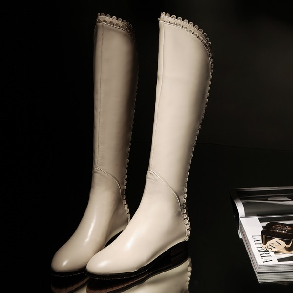 Ivory Vegan Leather Knee Boots Round Toe Flats Comfortable Long Boots image 4
