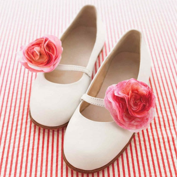Ivory Wedding Flats Floral Round Toe Cute Shoes for Bridesmaid image 1