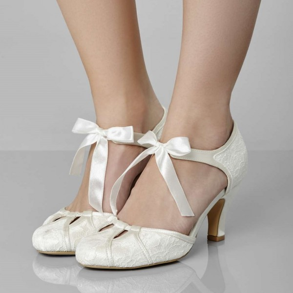 Ivory Wedding Shoes Satin Bow Floral Chunky Heel Pumps image 1