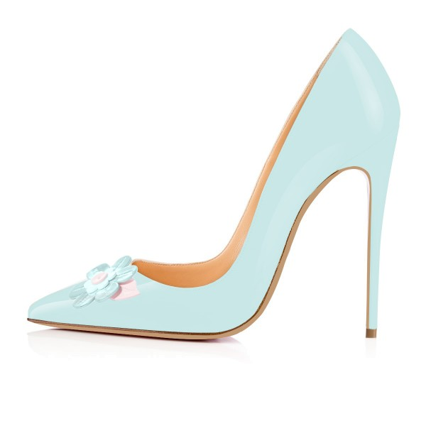 Light Blue Stiletto Heels Flower Pointy Toe Pumps image 3