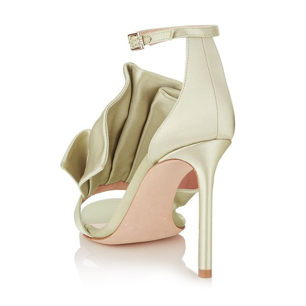 Women's Golden Ruffle Stiletto Heel Ankle Strap Sandals image 2