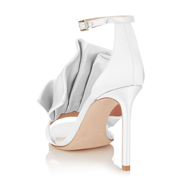 Women's White Ruffle Stiletto Heel Ankle Strap Sandals image 2