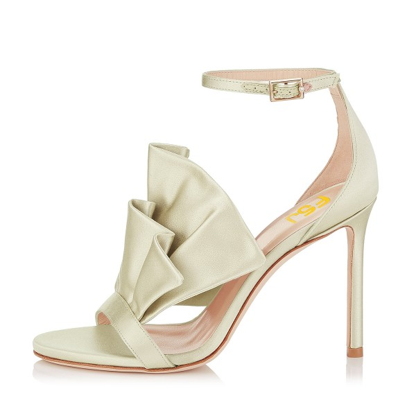 Women's Golden Ruffle Stiletto Heel Ankle Strap Sandals image 8