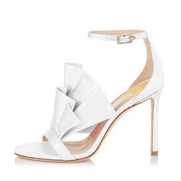 Women's White Ruffle Stiletto Heel Ankle Strap Sandals image 4