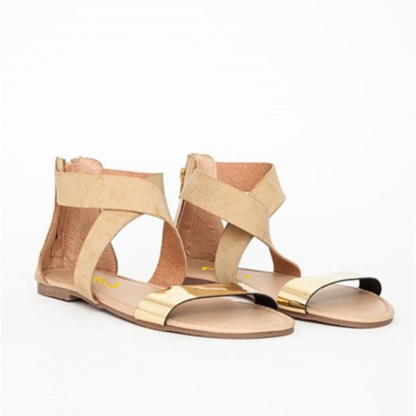 Gold and Khaki Flat Sandals Open Toe Crisscross Strap Sandals image 2